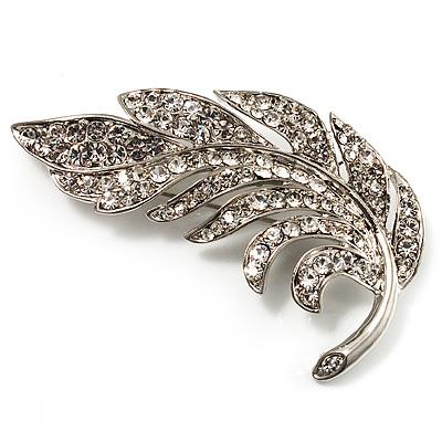 Dazzling Crystal Leaf Brooch (Silver Tone)