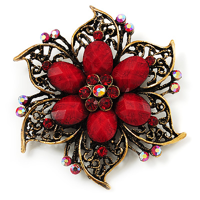 Vintage Filigree Crystal Brooch (Antique Gold & Red)