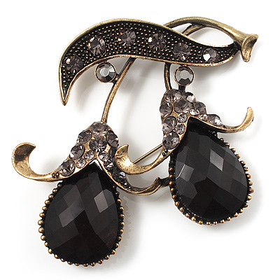 Vintage Black Crystal Cherry Brooch (Antique Gold Finish)