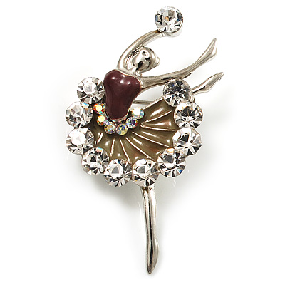 Silver Tone Crystal Dancing Ballerina Brooch (Light Brown)