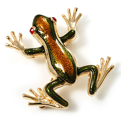 Gold Plated Enamel Frog Brooch (Brown & Green)