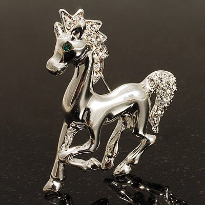 Silver Plated Galloping Horse Brooch