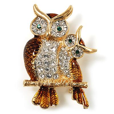 Two Sitting Diamante Owls Brooch (Gold Tone)