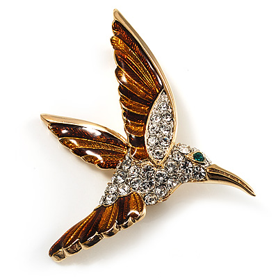 Diamante Enamel Hummingbird Brooch (Gold Tone)