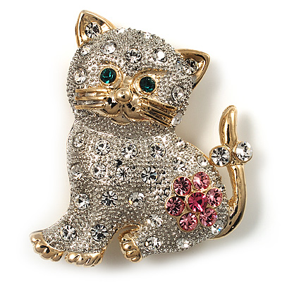 Two Tone Crystal Cat Brooch