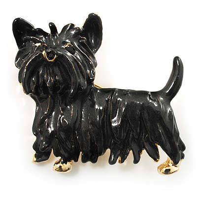 Black Enamel Puppy Dog Brooch (Gold Tone) - main view