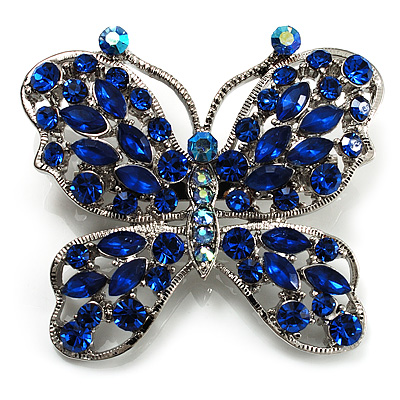 Sapphire Blue Diamante Butterfly Brooch (Silver Tone)
