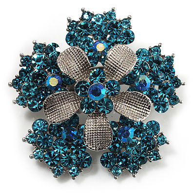 Light Blue Crystal Flower Brooch (Silver Tone) - main view