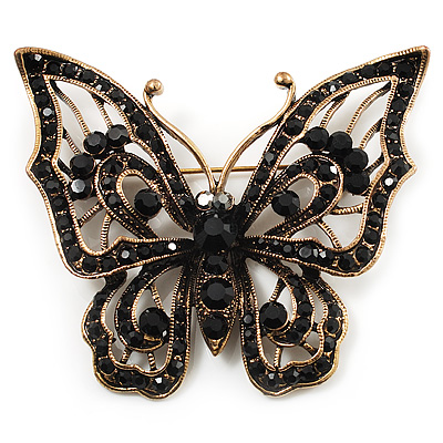 Vintage Black Crystal Butterfly Brooch (Antique Gold)