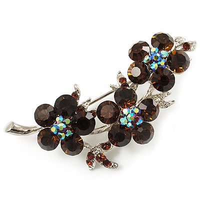 Swarovski Crystal Floral Brooch (Silver Tone & Amber Coloured) - main view