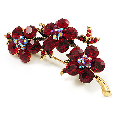 Swarovski Crystal Floral Brooch (Antique Gold &amp; Burgundy Red)