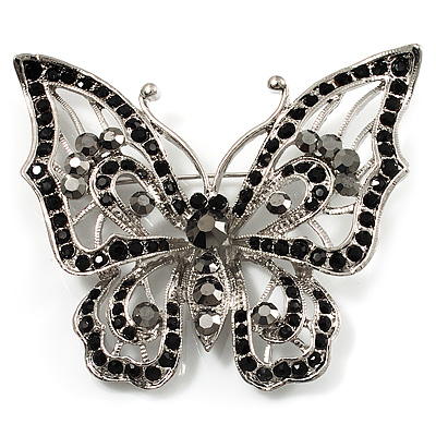 Jet Black Crystal Butterfly Brooch (Silver Tone Metal) - main view