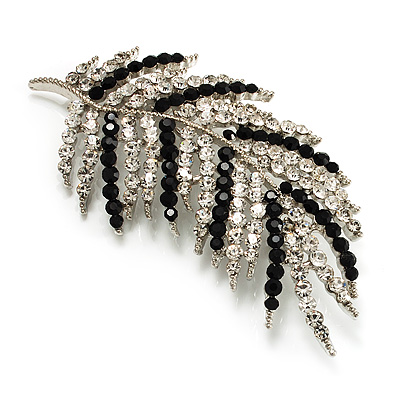 Statement Crystal Leaf Brooch (Black & Clear) - main view