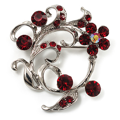 Burgundy Red Crystal Floral Wreath Brooch (Silver Tone) - main view