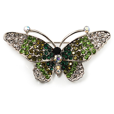 Green Crystal Butterfly Brooch (Silver Tone) - main view