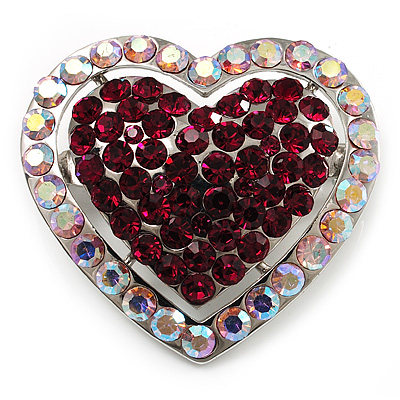 Silver Tone Dazzling Diamante Heart Brooch (Cherry & Iridescent Pink) - main view