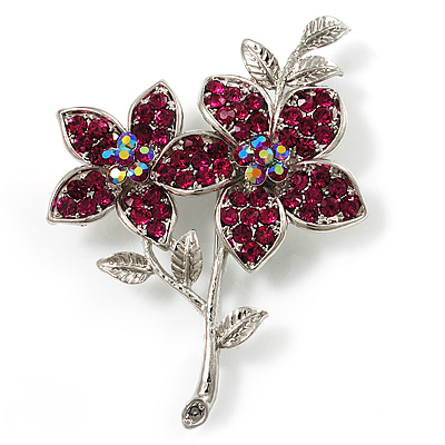 Magenta Swarovski Crystal Flower Brooch (Silver Tone)
