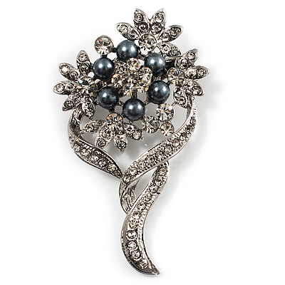 Bridal Ash Grey Faux Pearl Crystal Floral Brooch (Silver Tone)
