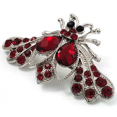 Burgundy Red Crystal Moth Brooch (Silver Tone)