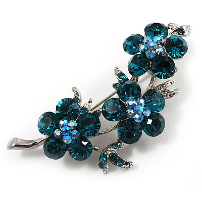 Swarovski Crystal Floral Brooch (Silver&amp;Teal Green)