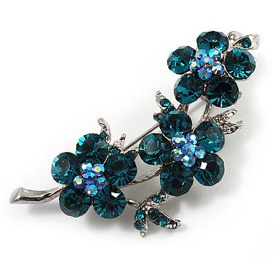 Swarovski Crystal Floral Brooch (Silver&Teal Green)