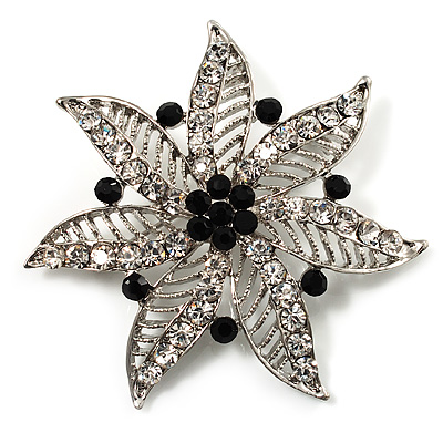Delicate Black Diamante Filigree Floral Brooch (Silver Tone) - main view