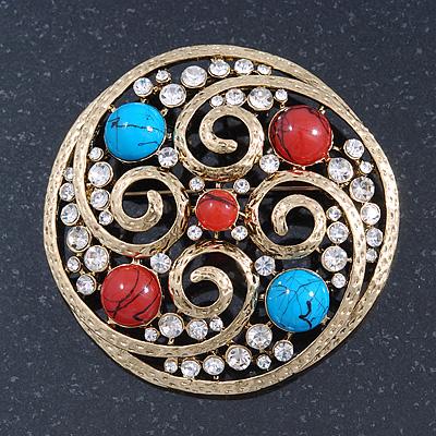 Avalaya Vintage Inspired Crystal, Faux Pearl Filigree Round Brooch In Gold Tone - 47mm Diameter