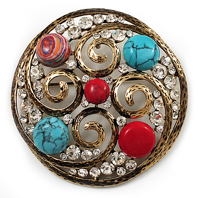 Large Vintage Round Turquoise Stone, Crystal Brooch/ Pendant (Antique Gold)