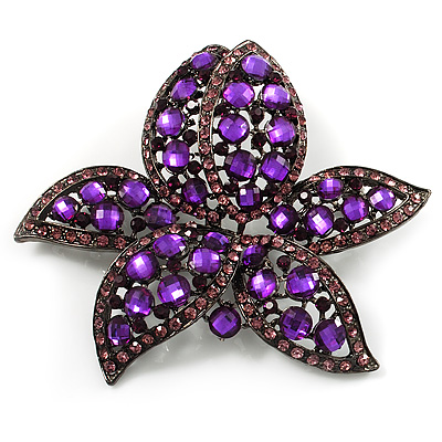 Large Deep Purple Diamante Floral Brooch/ Pendant (Gun Metal Finish)