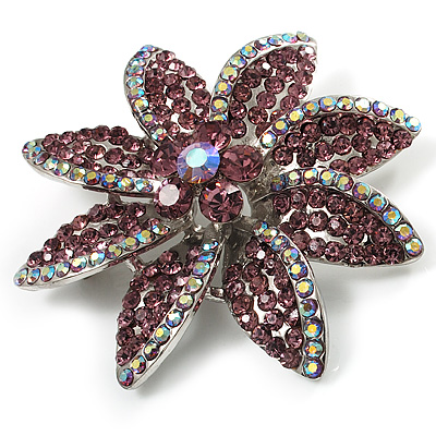 Lavender Swarovski Crystal Bridal Corsage Brooch (Silver Tone)