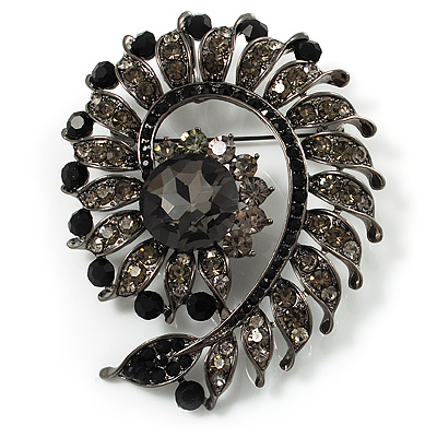 Oversized Slate Black Crystal Twirl Brooch/ Pendant (Gun Metal Finish)