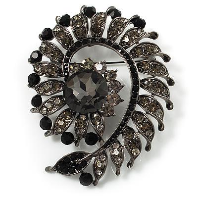 Oversized Slate Black Crystal Twirl Brooch/ Pendant (Gun Metal Finish) - main view