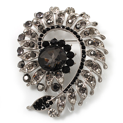 Oversized Dim Grey Crystal Twirl Brooch/ Pendant (Silver Metal Finish) - main view