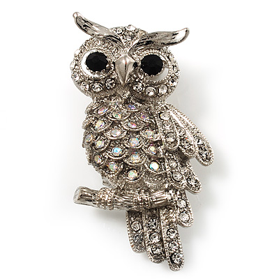 Clear Diamante Owl Brooch/ Pendant (Silver Tone) - main view