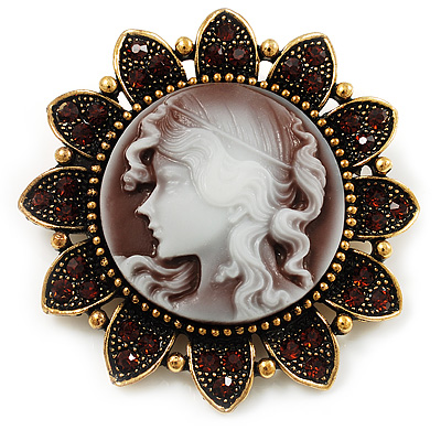 Vintage Amber Crystal Cameo Brooch (Antique Gold & Beige)