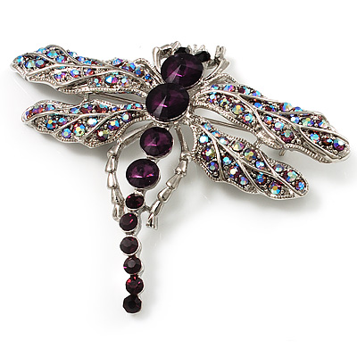Stunning Purple Diamante Dragonfly Brooch (Silver Tone)
