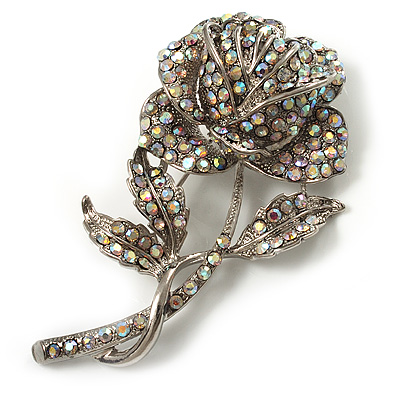 Vintage Iridescent Rose Brooch (Silver Tone) - main view