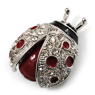 Red Enamel Ladybug Brooch (Silver Tone)
