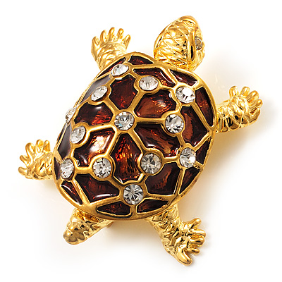 Cute Brown Enamel Crystal Turtle Brooch (Gold Plated)