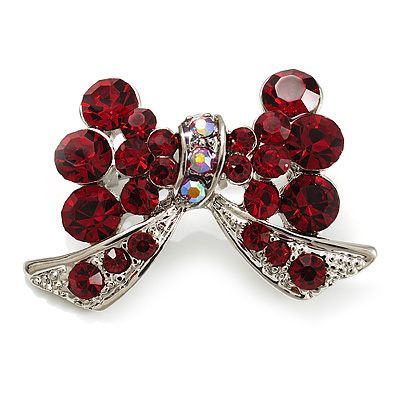 Small Burgundy Red Diamante Bow Brooch (Silver Tone)