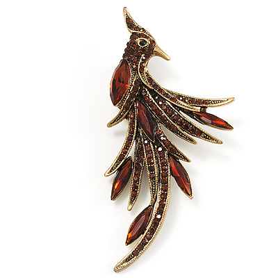 Attractive Sparkling Amber Coloured Crystal Fire Bird Brooch (Antique Gold Tone)    Main View