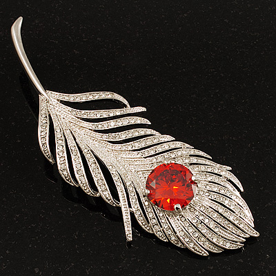 Large Swarovski Crystal Peacock Feather Silver Tone Brooch (Clear &amp; Carrot Red) - 11.5cm Length