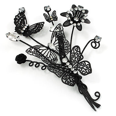 Gigantic Black Crystal Filigree Flower And Butterfly Crystal Brooch (Catwalk - 2013)