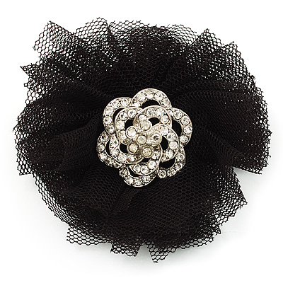 Black Crystal Net Floral Brooch