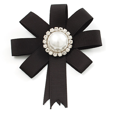 Black Silk Ribbon Pearl Brooch