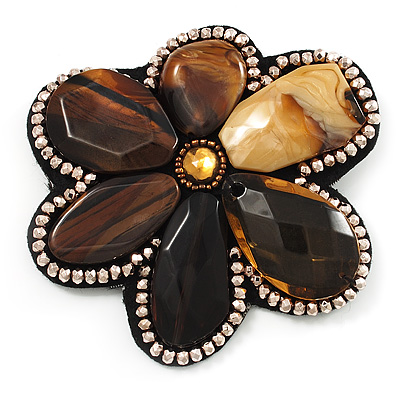 Gigantic Amber Style Flower Brooch (Catwalk - 2013)