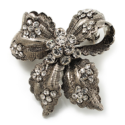 Avalaya Vintage Inspired Grey Coloured Austrian Crystal Floral Brooch In Antique Silver Tone - 43mm D V8KNj