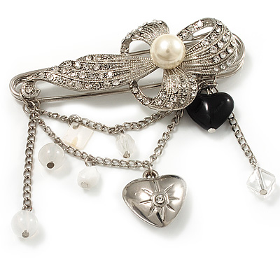 'Pearl Flower, Heart & Acrylic Bead' Charm Safety Pin Brooch (Silver Tone)