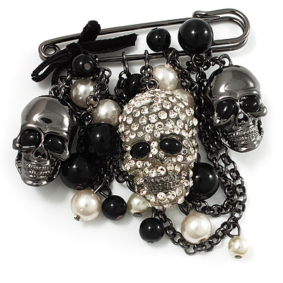 'Skull, Chain & Bead' Charm Safety Pin Brooch (Gun Metal Finish) - Catwalk - 2013