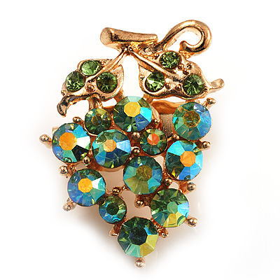 Tiny Grape-Design Light Green Crystal Pin Brooch (Gold Tone) - main view